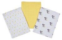 Dreambee Gant de toilette tetra Ayko gris clair/jaune - 3 pièces