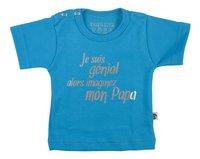 Wooden Buttons T-shirt met korte mouwen Je suis génial alors imaginez mon papa aqua maat 86/92