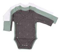 Dreambee Body met overslag en lange mouwen Essentials allover vliegertje grijs/groen/wit - 3 stuks-Vooraanzicht