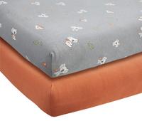 Dreambee Drap-housse pour lit Kai gris/rouille coton - 2 pièces-Avant