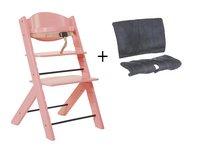 Treppy Chaise haute + coussin réducteur rose