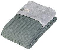 Koeka Couverture d'hiver pour lit Oslo sapphire/silver grey teddy/coton-Avant