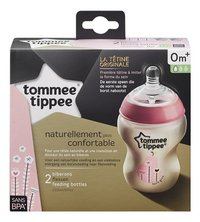 Tommee Tippee Zuigfles Closer to Nature Easy-Vent roze 260 ml - 2 stuks