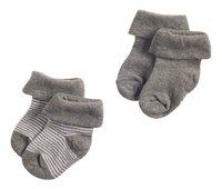 Noppies Sokken Guzzi - 2 stuks anthracite melange 3 tot 6 maanden