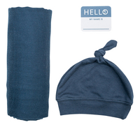 Lulujo Couverture d'emmaillotage Set Hello World bambou/coton bleu-commercieel beeld