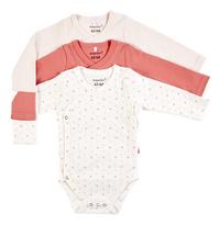 Dreambee Body met overslag en lange mouwen Essentials allover kruisje roze/wit - 3 stuks-Vooraanzicht