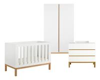Quax Chambre de bébé 3 pièces avec armoire 2 portes Indigo blanc-Avant