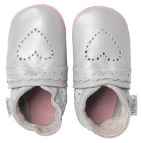 Bobux Chaussons Soft soles Sweet Heart silver pointure 18/19