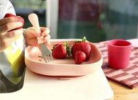 Béaba Plat bord silicone met zuignap roze-Afbeelding 1