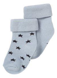 Noppies Paire de chaussettes Napoli grey blue - 2 pièces de 3 à 6 mois-Avant