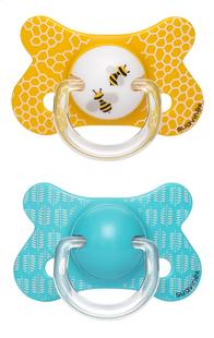 Suavinex Sucette + 18 mois Fusion Abeille bleu/jaune - 2 pièces-Avant