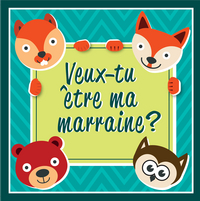 Minimou Sticker Foxes Veux-tu être ma marraine ?