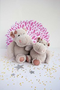 Histoire d'Ours Peluche Hippo hippopotame 25 cm rose-Image 1