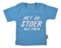 Wooden Buttons T-shirt met korte mouwen Net zo stoer als papa aqua maat 50/56