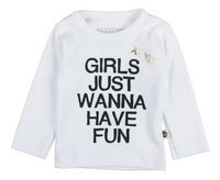 Wooden Buttons T-shirt à longues manches Girls just wanna have fun blanc