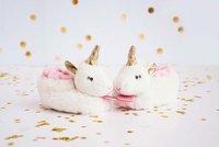 Doudou et Compagnie Pantoffeltjes Lucie de eenhoorn wit/roze-Afbeelding 1