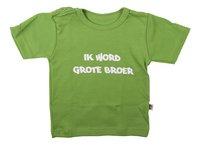 Wooden Buttons T-shirt met korte mouwen Ik word grote broer lime maat 86/92