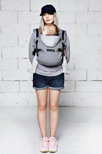 Je porte mon bebe Combidrager HoodieCarrier grey-Afbeelding 3