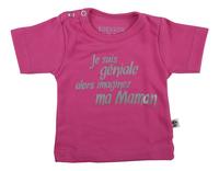 Wooden Buttons T-shirt met korte mouwen Je suis géniale alors imaginez ma maman fuchsia maat 62/68