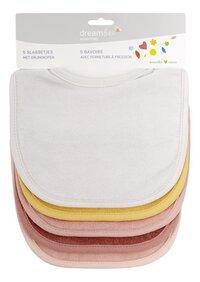 Dreambee Bavoir Essentials à pression rose/blanc/moutarde - 5 pièces-Avant