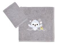 Dreambee Serviette + gant de toilette Lila & Lou Lou gris - 2 pièces-Avant