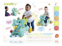 Infantino Loopwagen Sensory 3 in 1 Ride On Elephant blauw/groen-Vooraanzicht