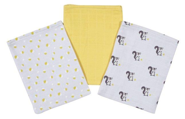 Image pour Dreambee Gant de toilette tetra Ayko gris clair/jaune - 3 pièces à partir de Dreambaby