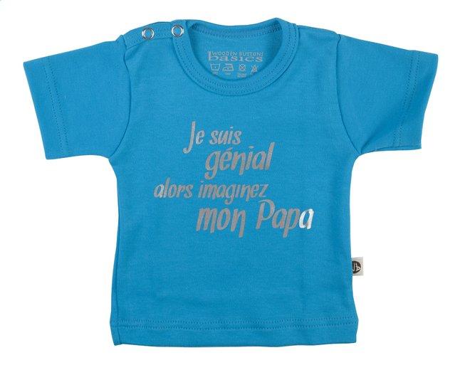 Afbeelding van Wooden Buttons T-shirt met korte mouwen Je suis génial alors imaginez mon papa aqua maat 86/92 from Dreambaby