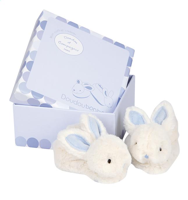 Afbeelding van Doudou et Compagnie Pantoffeltjes Lapin Bonbon met rammelaar blauw from Dreambaby