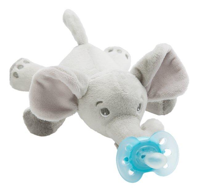 Afbeelding van Philips AVENT Fopspeen met knuffel + 0 maanden Snuggle Olifant from Dreambaby