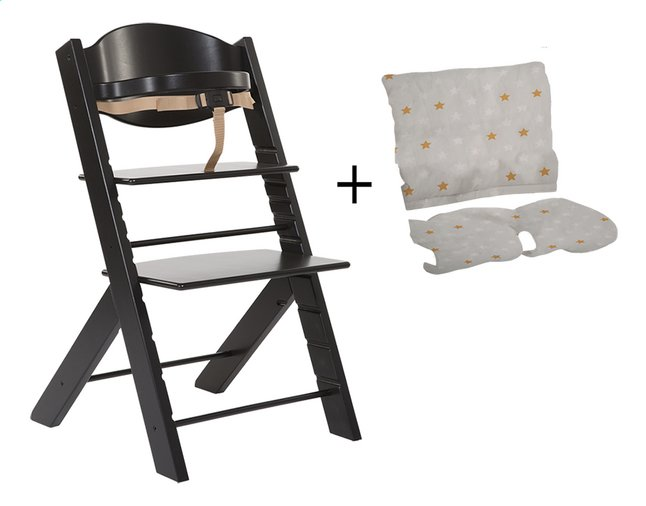 Treppy chaise haute avec coussin r ducteur noir dreambaby - Coussin reducteur chaise haute ...