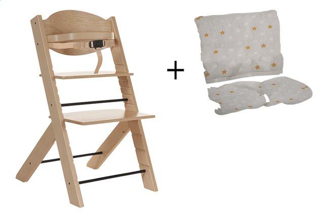 Treppy Chaise haute avec coussin réducteur gratuit naturel
