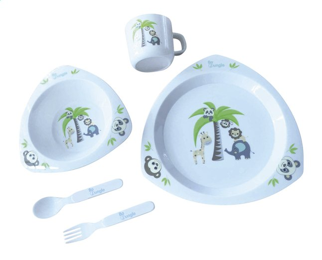 Afbeelding van Bo Jungle 5-delige eetset B-Dinner Jungle Friends triangle wit from Dreambaby