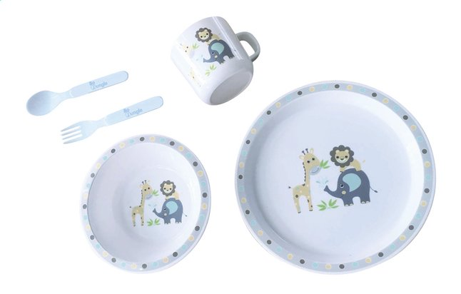 Afbeelding van Bo Jungle 5-delige eetset B-Dinner Jungle Friends round wit from Dreambaby