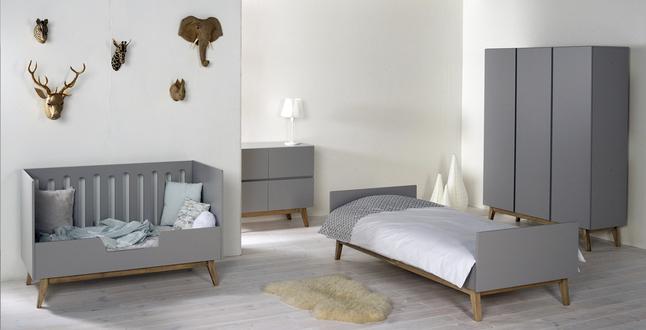 Quax Chambre 4 éléments avec armoire 3 portes Trendy griffin grey