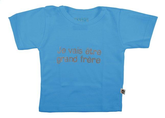 Afbeelding van Wooden Buttons T-shirt met korte mouwen Je vais être grand frère aqua maat 74/80 from Dreambaby