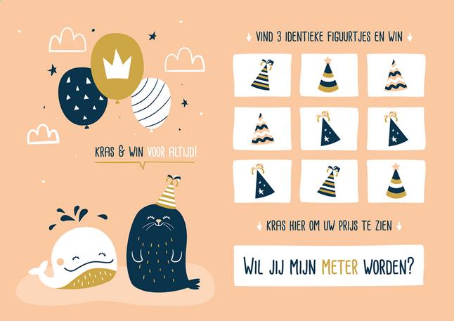 Afbeelding van Minimou Kraskaart Wil jij mijn meter worden? Sea party from Dreambaby