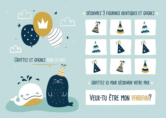 Afbeelding van Minimou Kraskaart Veux-tu être mon parrain? Sea party from Dreambaby