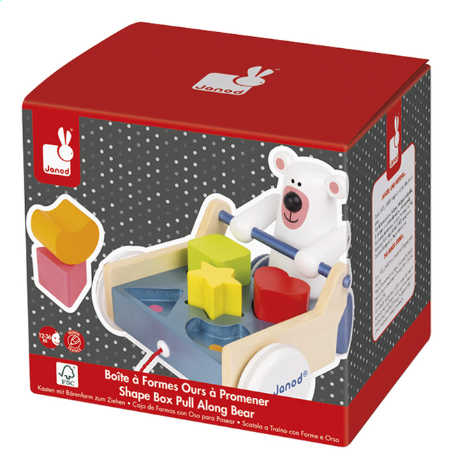 Afbeelding van Janod Vormsorteerder Zigolos Shape Box Pull Along Bear from Dreambaby