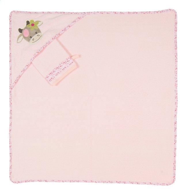Image pour Nattou Cape de bain et gant de toilette Manon & Alizée rose Lg 75 x L 75 cm à partir de Dreambaby