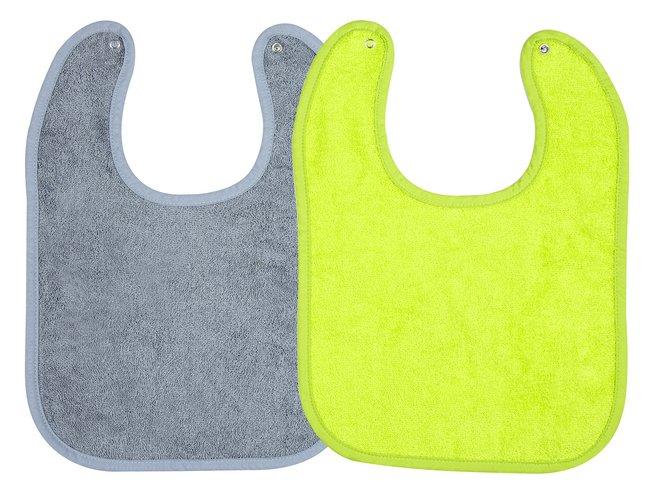 Afbeelding van Dreambee Slabbetje Essentials met drukknoppen grijs/lime - 2 stuks from Dreambaby