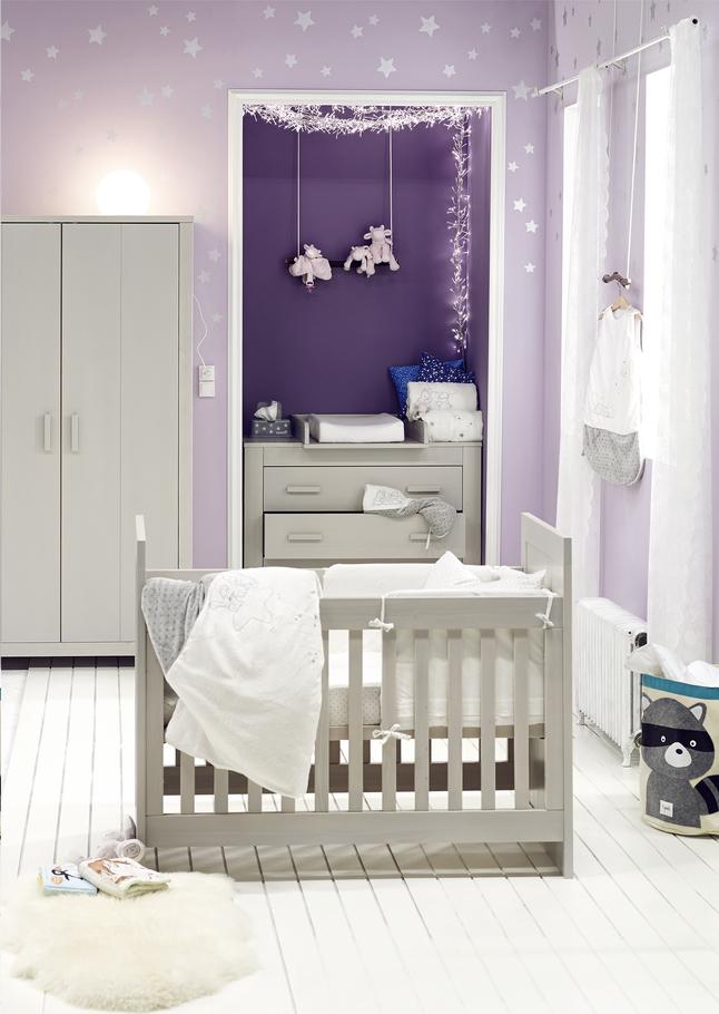 Afbeelding van Noukie's 3-delige babykamer met kast met 3 deuren Poudre d'Étoiles from Dreambaby