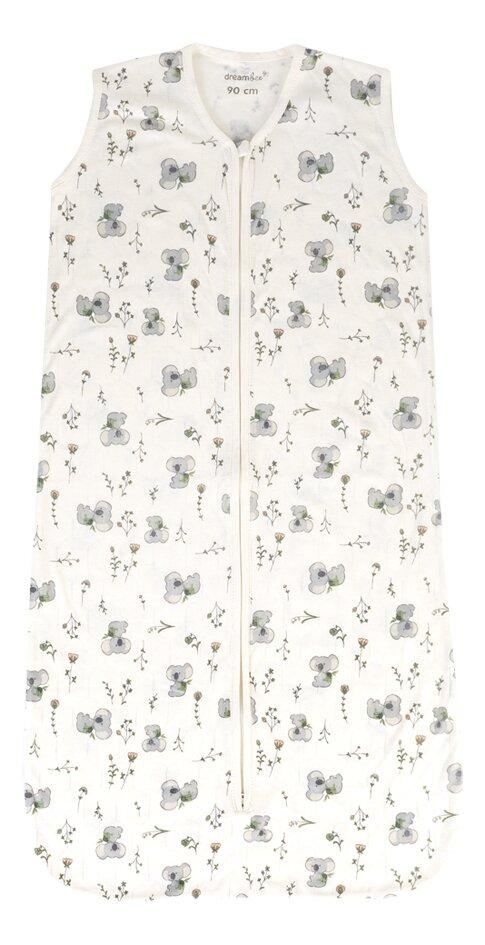 Dreambee Sac de couchage d'été Kai Flower jersey/jersey de coton blanc cassé 90 cm