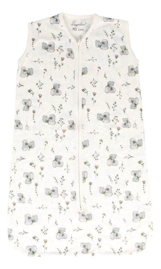 Dreambee Sac de couchage d'été Kai Flower jersey/jersey de coton blanc cassé 70 cm