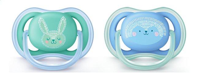 Afbeelding van Philips AVENT Fopspeen 6 - 18 maanden Ultra Air deco blauw/groen - 2 stuks from Dreambaby
