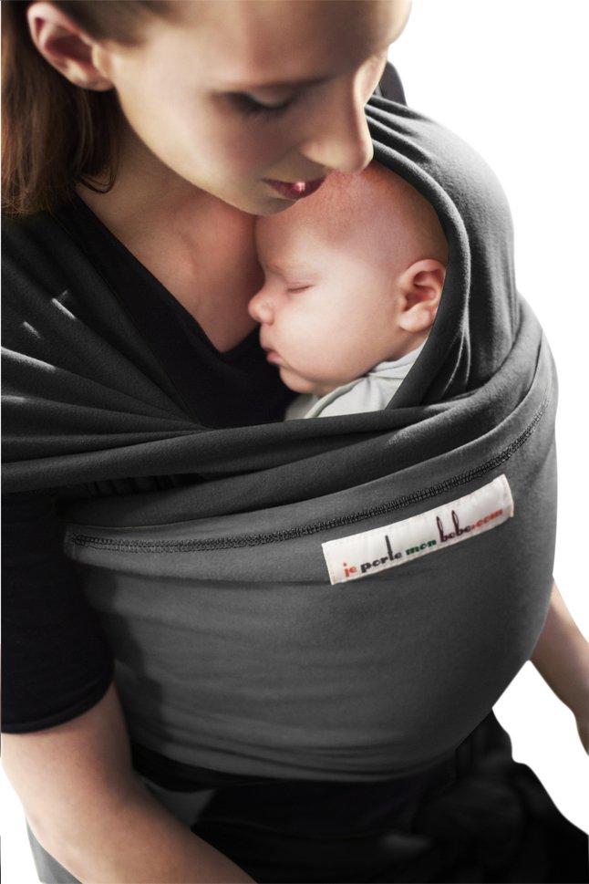 Image pour Je porte mon bebe Écharpe de portage extensible Originale  black charcoal grey à eb8075365d5