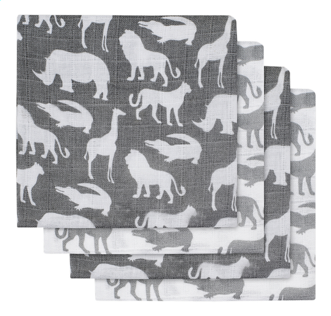 Jollein Tetradoek Safari stone grey  - 2 stuks