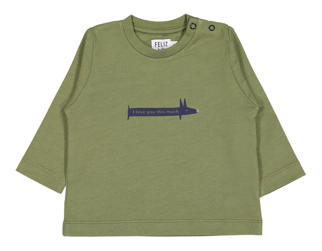 Afbeelding van Feliz by Filou T-shirt met lange mouwen Love You kaki from Dreambaby