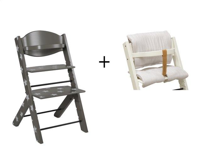 Treppy chaise haute avec coussin r ducteur gris toil dreambaby - Coussin reducteur chaise haute ...