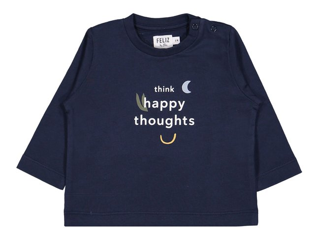 Feliz by Filou T-shirt met lange mouwen Happy Thoughts blauw